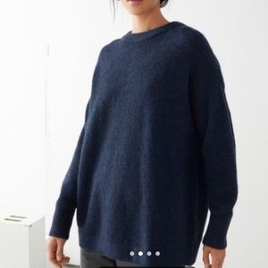 & Other Stories Blue Alpaca Knit Oversized Sweater